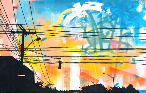 "The Sun will Set 48""x30""x2"". spray paint, acrylics and ink on pine panel. 2013."